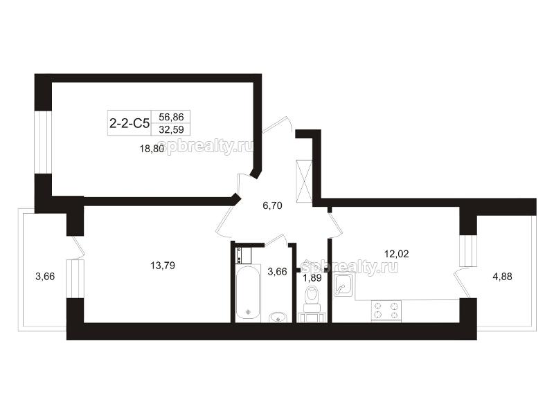 Планировка Двухкомнатная квартира площадью 61.13 кв.м в ЖК «Земляничная поляна»