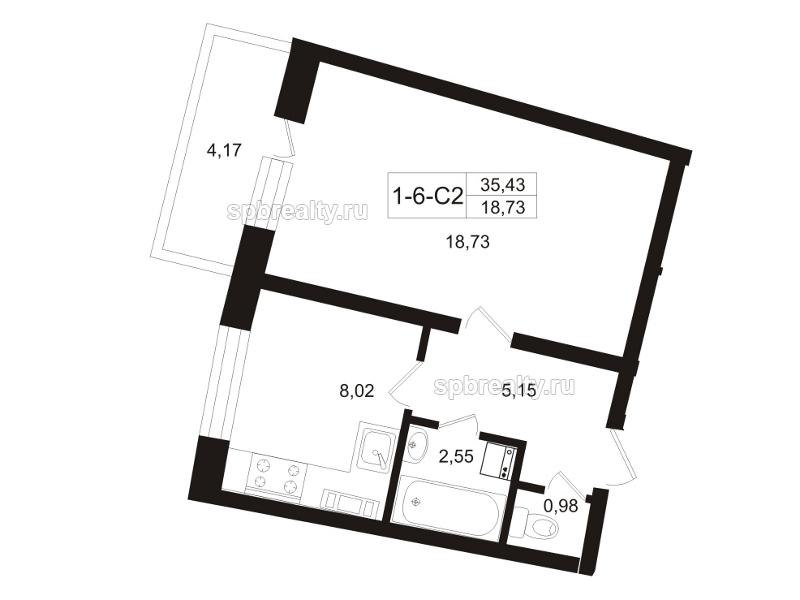 Планировка Трёхкомнатная квартира площадью 37.52 кв.м в ЖК «Земляничная поляна»