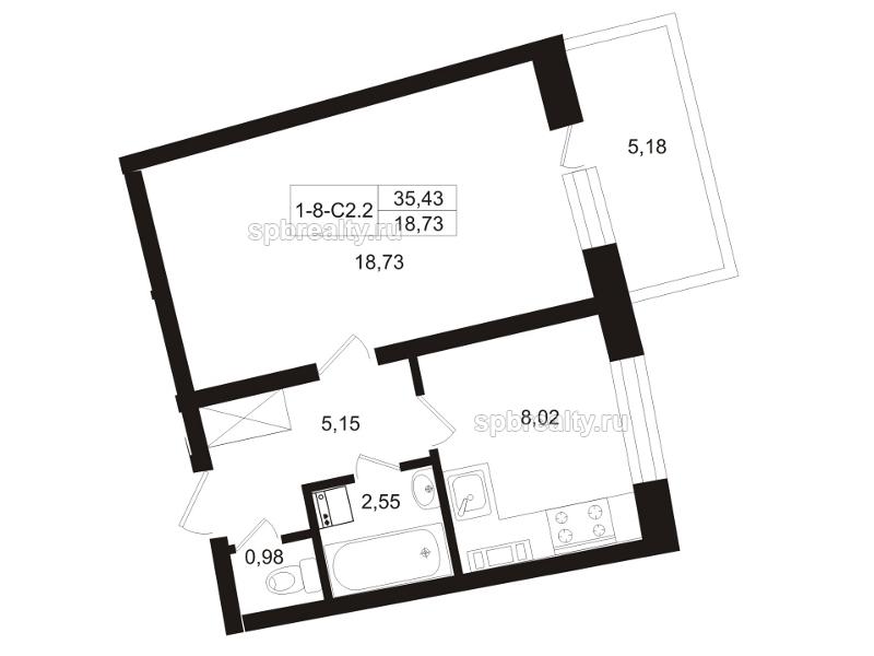 Планировка Однокомнатная квартира площадью 38.02 кв.м в ЖК «Земляничная поляна»