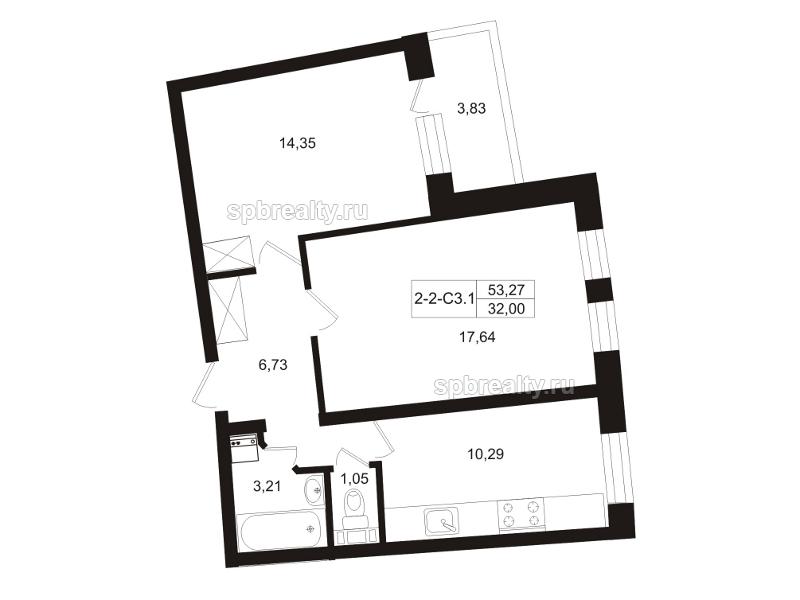 Планировка Двухкомнатная квартира площадью 55.19 кв.м в ЖК «Земляничная поляна»