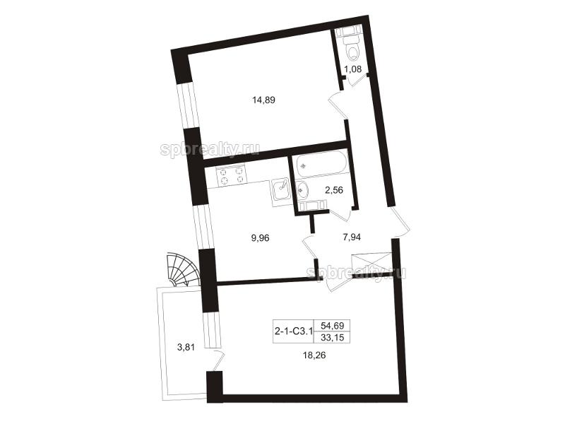 Планировка Двухкомнатная квартира площадью 56.6 кв.м в ЖК «Земляничная поляна»